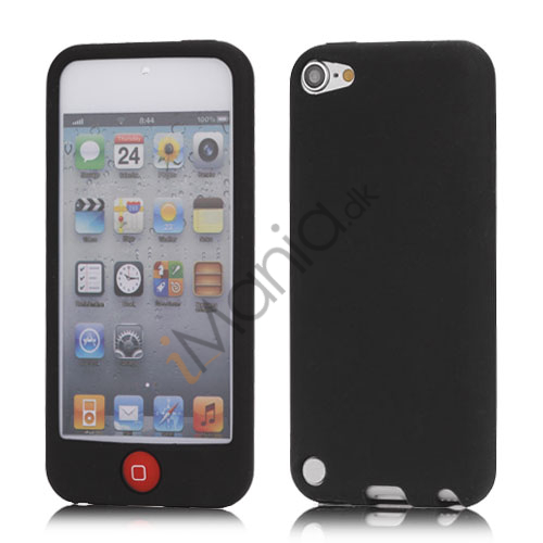 Image of   Cover med farvet home-knap Silikone Case Cover til iPod Touch 5 - Sort