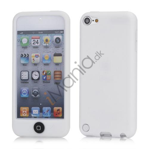 Cover med farvet home-knap Silikone Taske Shell for iPod Touch 5 - Hvid