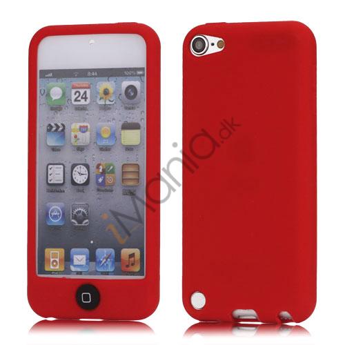 Image of   Cover med farvet home-knap Jelly Silikone taske til iPod Touch 5 - Rød