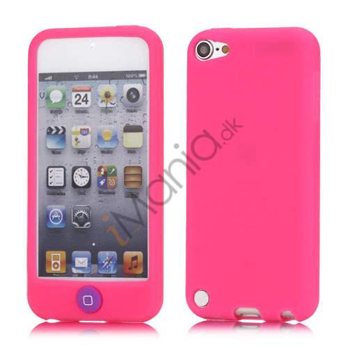 Image of   Cover med farvet home-knap Gummi silikone etui til iPod Touch 5 - Rose