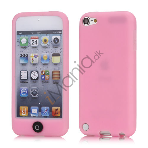 iPod Touch 5 Silikone Taske med Cover med farvet home-knap - Pink