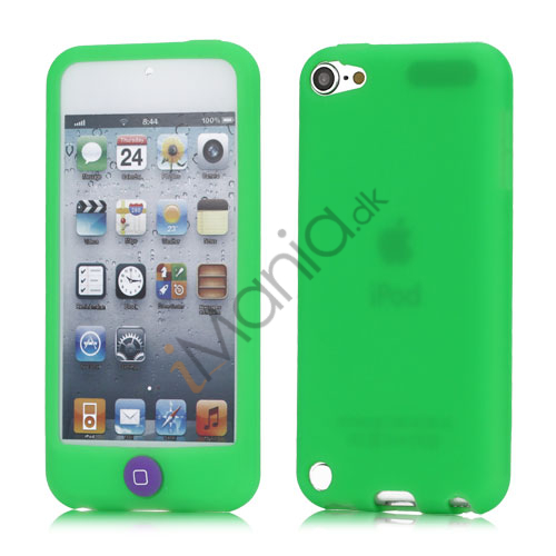 Image of   Cover med farvet home-knap Silikone Case Cover til iPod Touch 5 - Grøn
