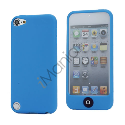 Cover med farvet home-knap Silikone Taske Shell for iPod Touch 5 - Baby Blue