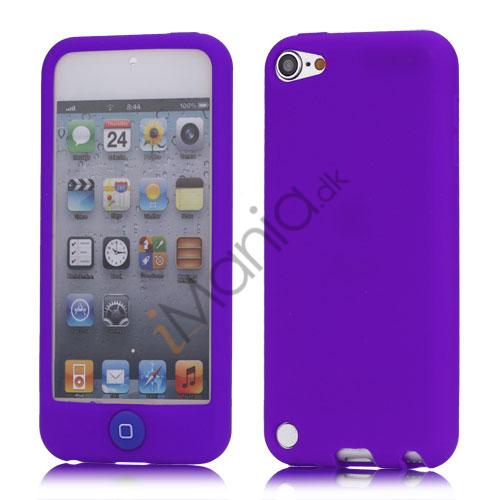 Cover med farvet home-knap Gummi silikone etui til iPod Touch 5 - Lilla