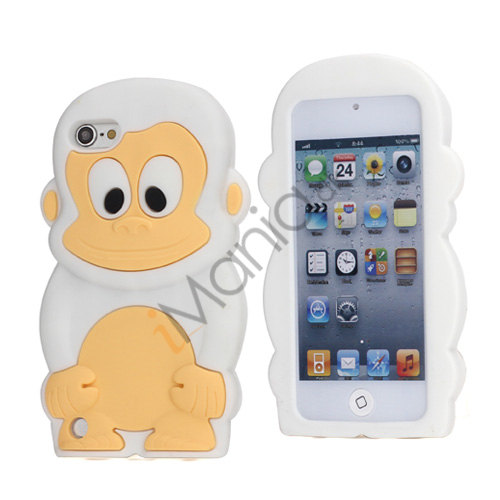 Image of   Sød 3D Abe, blød beskyttende silikone Jelly Taske til iPod Touch 5 - Hvid