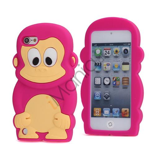 Billede af Sød 3D Abe, blød beskyttende silikone Jelly Taske til iPod Touch 5 - Rose