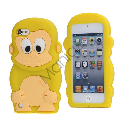 Sød 3D Abe, blød beskyttende silikone Jelly Taske til iPod Touch 5 - Gul