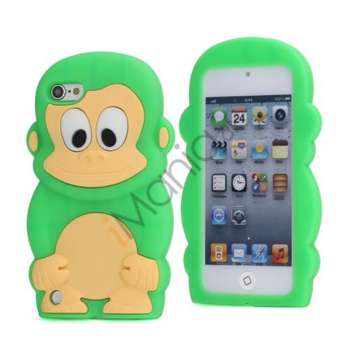 Sød 3D Abe, blød beskyttende silikone Jelly Taske til iPod Touch 5 - Grøn