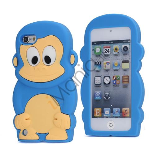 Image of   Sød 3D Abe, blød beskyttende silikone Jelly Taske til iPod Touch 5 - Lyseblå