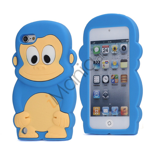 Sød 3D Abe, blød beskyttende silikone Jelly Taske til iPod Touch 5 - Lyseblå