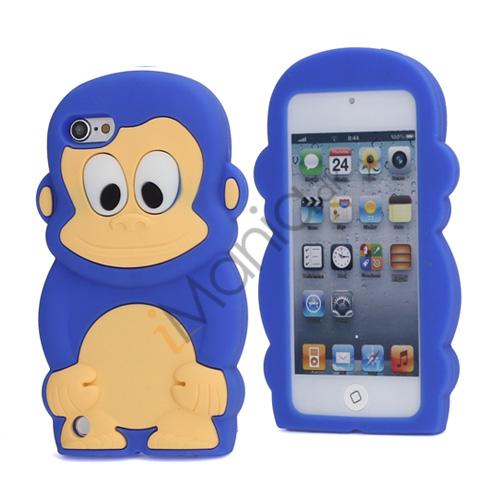Sød 3D Abe, blød beskyttende silikone Jelly Taske til iPod Touch 5 - Mørkeblå