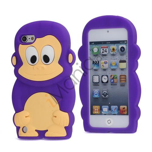 Image of   Sød 3D Abe, blød beskyttende silikone Jelly Taske til iPod Touch 5 - Lilla