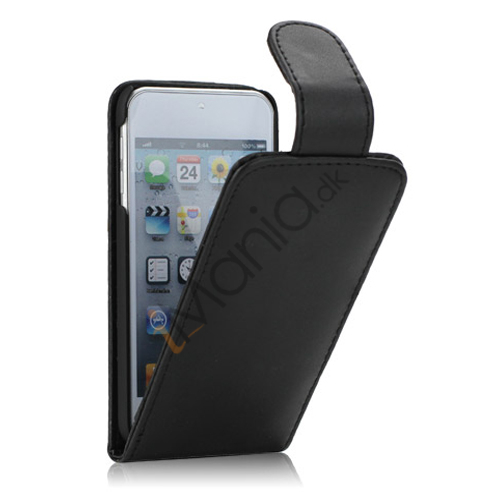 Tyndt Lodret PU Læder Case Cover med kortpladser til iPod Touch 5 - Sort