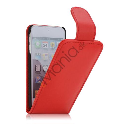 Tyndt Lodret PU Læder Case Cover med kortpladser til iPod Touch 5 - Rød