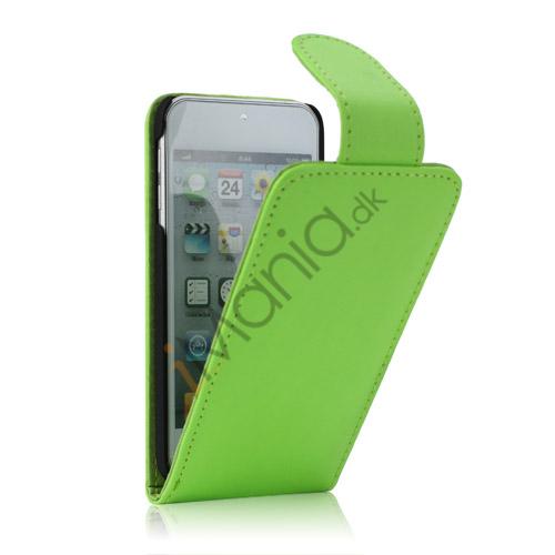 Tyndt Lodret PU Læder Case Cover med kortpladser til iPod Touch 5 - Grøn