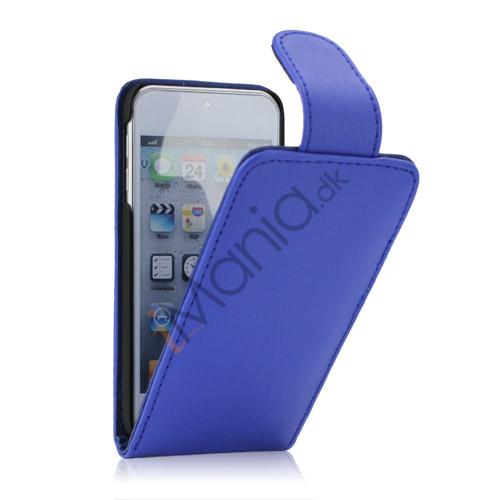 Tyndt Lodret PU Læder Case Cover med kortpladser til iPod Touch 5 - Blå