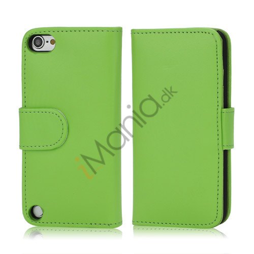 Image of   Magnetisk Kunstlæder Kreditkort tegnebog Cover til iPod Touch 5 - Grøn