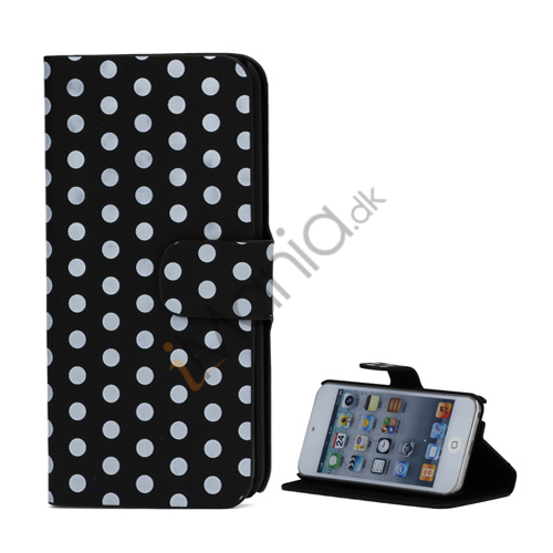 Tyndt Polkaprikket Holder Folio Læder Taske til iPod Touch 5 - Hvid / Sort