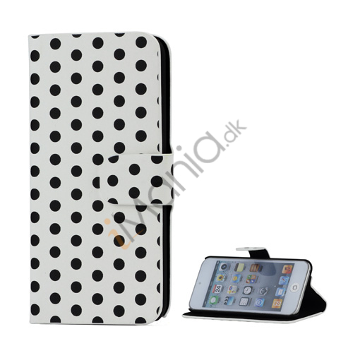 Tyndt Polkaprikket Holder Folio Læder Taske til iPod Touch 5 - Sort / Hvid