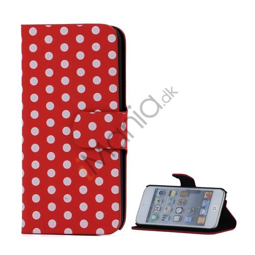 Image of   Tyndt Polkaprikket Holder Folio læder etui til iPod Touch 5 - Hvid / Rød