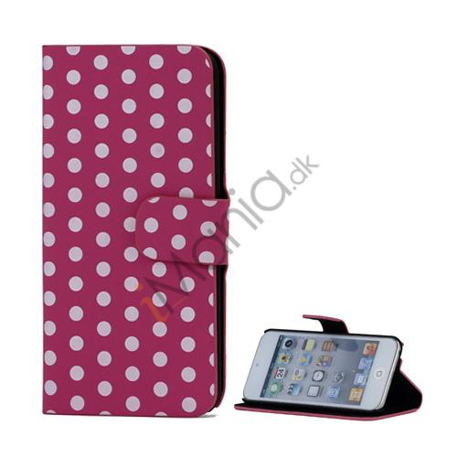 Tyndt Polkaprikket Holder Folio Læder Taske til iPod Touch 5 - Hvid / Rose