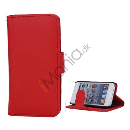 Folio Holder Lædertaske Flip Kreditkort tegnebog Cover til iPod Touch 5 - Rød