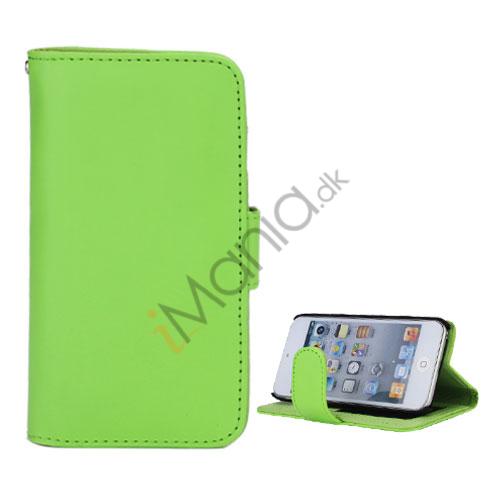 Folio Holder Lædertaske Flip Kreditkort tegnebog Cover til iPod Touch 5 - Grøn