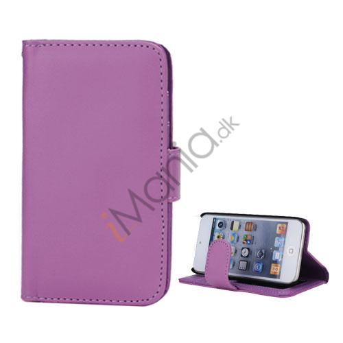 Folio Holder Lædertaske Flip Kreditkort tegnebog Cover til iPod Touch 5 - Lilla