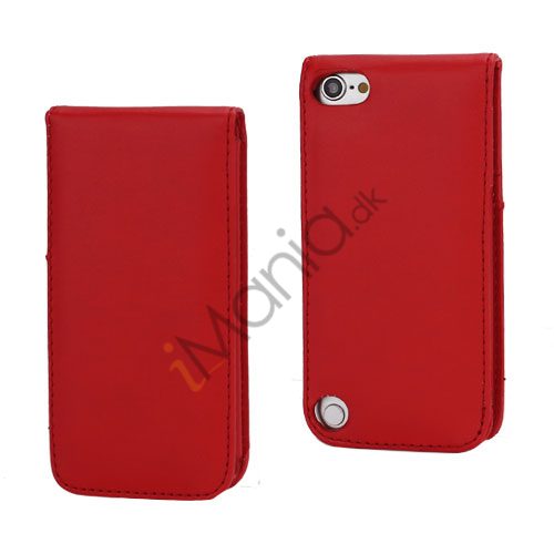 Lodret Magnetisk Flip Læderetui Cover til iPod Touch 5 med Kreditkortholdere - Rød