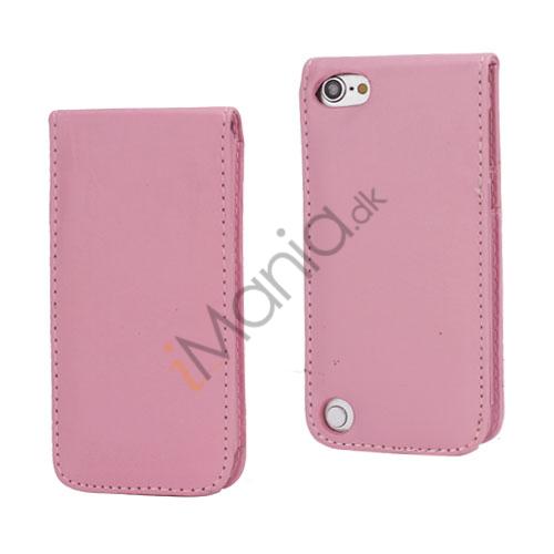 Lodret Magnetisk Flip Læderetui Cover til iPod Touch 5 med Kreditkortholdere - Pink