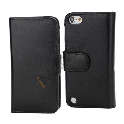 Magnetisk Folio Bog Læder Kreditkort tegnebog taske til iPod Touch 5 - Sort