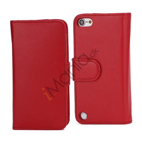 Magnetisk Folio Bog Læder Kreditkort tegnebog taske til iPod Touch 5 - Rød