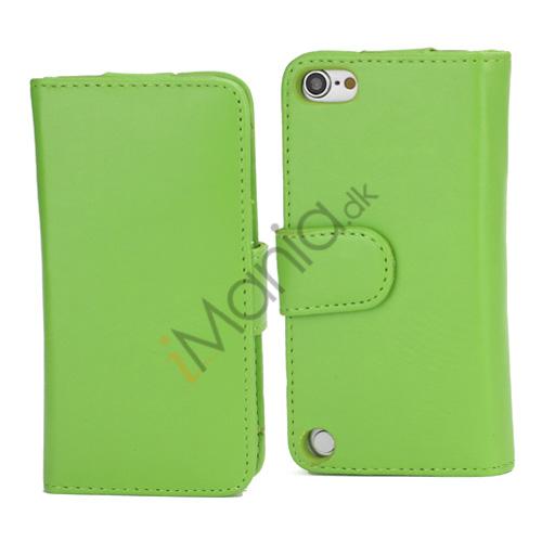 Magnetisk Folio Bog Læder Kreditkort tegnebog taske til iPod Touch 5 - Grøn