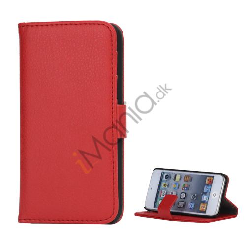 Image of   Mønstret med Kreditkortholdere Læderetui Cover til iPod Touch 5 - Rød