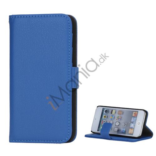 Mønstret med Kreditkortholdere Læderetui Cover til iPod Touch 5 - Blå
