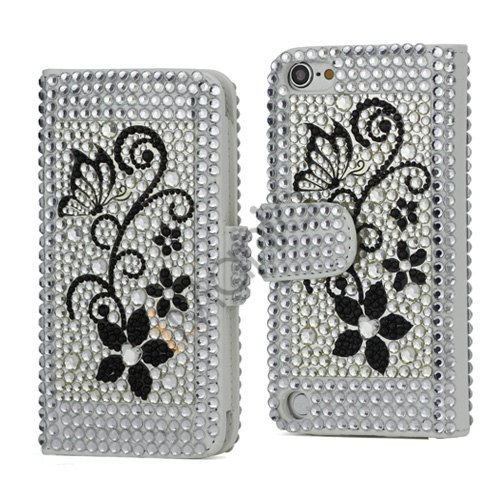Image of   Glitrende Diamant Blomster Magnetisk Wallet Læder Case Cover til iPod Touch 5
