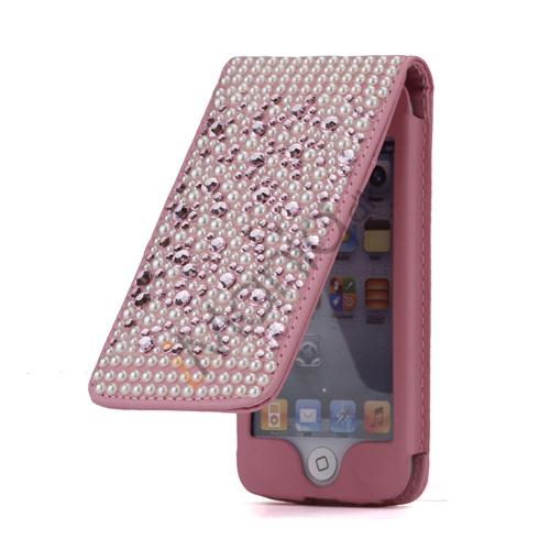 Luksus Diamant og Perler Pink Lodret Læder Beskyttende taske til iPod Touch 5 med Kreditkortholdere