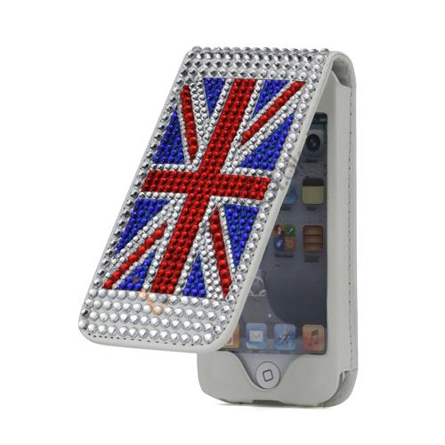 Image of   Bling Bling Smykkesten UK Flag Lodret Flip Læder Taske til iPod Touch 5