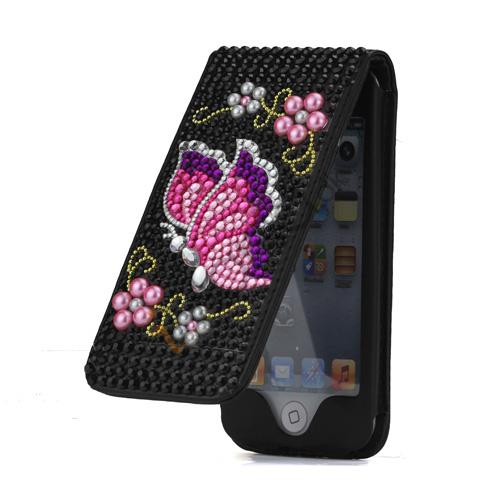 Glitrente Smykkesten med Perler og Sommerfugl Sort Flip Læder Case Cover til iPod Touch 5
