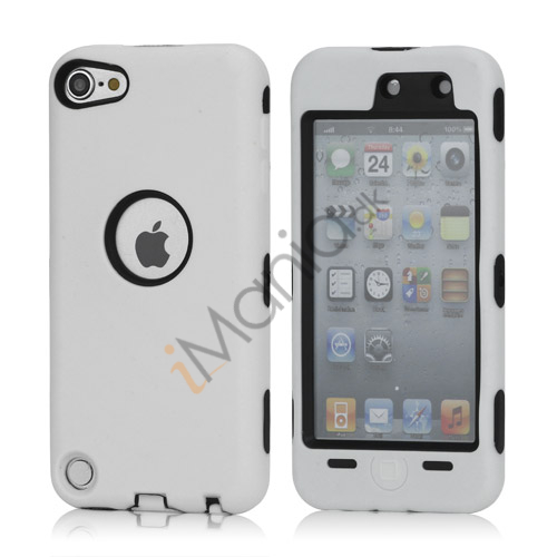 Snap-on Plastic og silikone Combo Defender taske til iPod Touch 5 - Sort / Hvid
