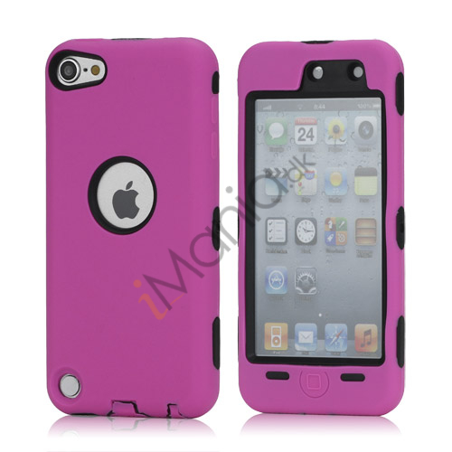 Snap-on Plastic og silikone Combo Defender taske til iPod Touch 5 - Sort / Rose