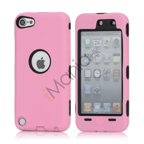 Snap-on Plastic og silikone Combo Defender taske til iPod Touch 5 - Sort / Pink