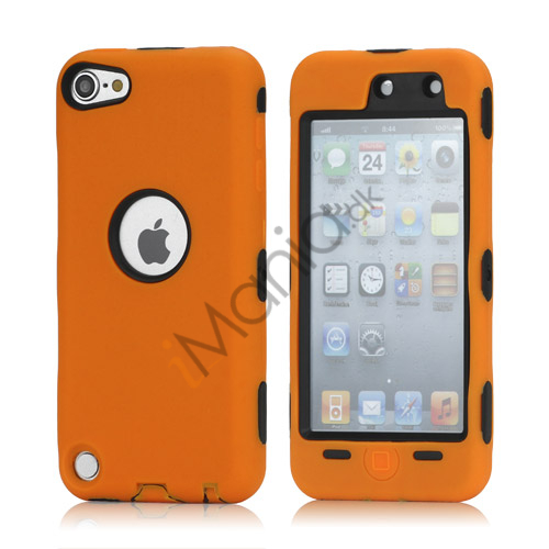 Snap-on Plastic og silikone Combo Defender taske til iPod Touch 5 - Sort / Orange