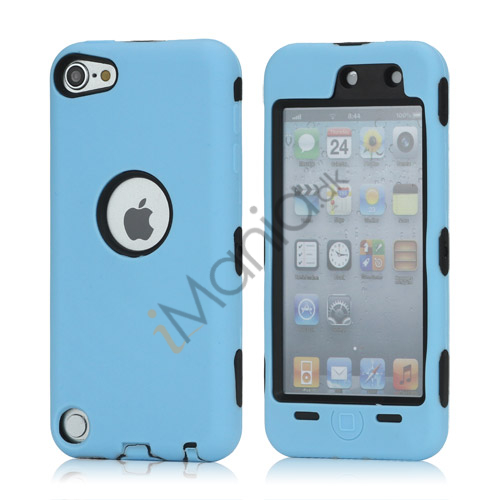Snap-on Plastic og silikone Combo Defender taske til iPod Touch 5 - Sort / Baby Blue
