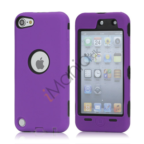 Snap-on Plastic og silikone Combo Defender taske til iPod Touch 5 - Sort / Lilla