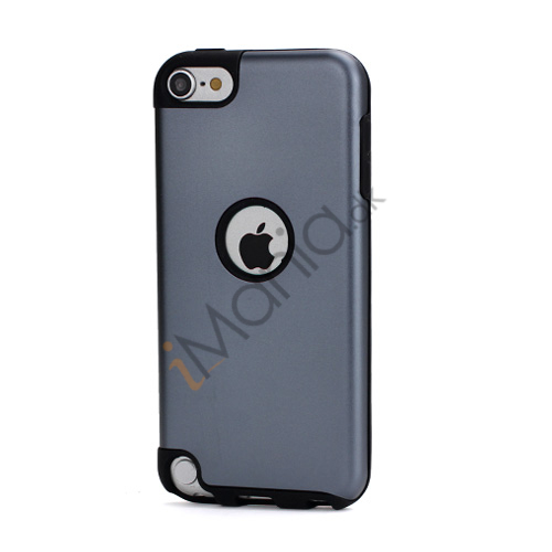 Image of   Blankt aluminum Kombineret Silikone Hard Back Case til iPod Touch 5 - Sort / Grå
