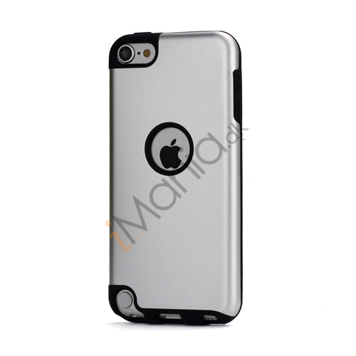 Image of   Blankt aluminum Kombineret Silikone Hard Back Case til iPod Touch 5 - Sort / Sølv
