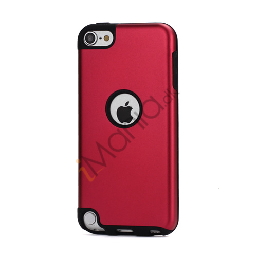 Image of   Blankt aluminum Kombineret Silikone Hard Back Case til iPod Touch 5 - Sort / Rød