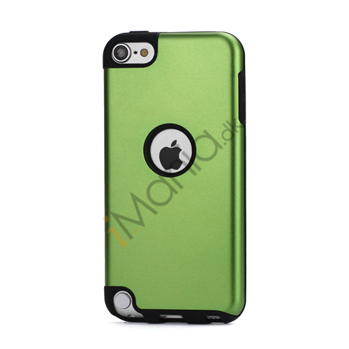Image of   Blankt aluminum Kombineret Silikone Hard Back Case til iPod Touch 5 - Sort / Grøn