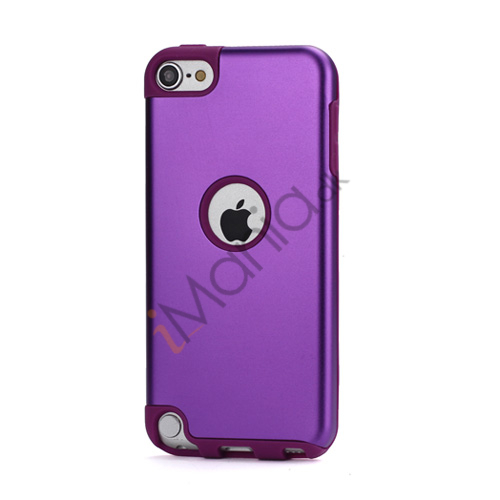 Blankt aluminum Kombineret Silikone Hard Back Case til iPod Touch 5 - Purple